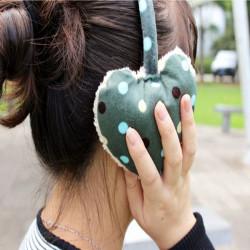 Women Girls Winter Cute Dot Print Hearts Shape Fur Warm Earmuffs