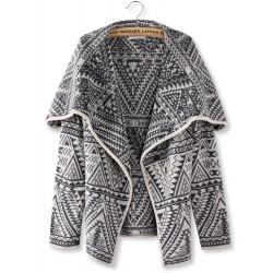 Women Grey Lapel Geometric Totem Print Long Sleeve Knit Cardigan