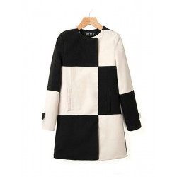 Women Hit Color Black White Plaid Stitching Windbreaker Wool Coat