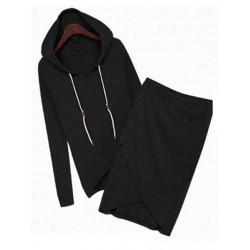 Women Hooded Tops And Irregular Hem Hip Skirt Cotton Sets