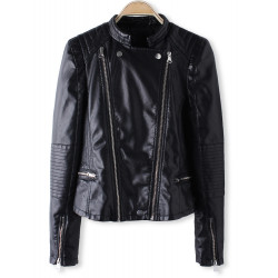 Frauen heiße schwarze Langarm Zipper PU Crop Lederjacke