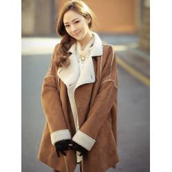 Women Khaki Lapel Patchwork Pockets Faux Fur Thicken Coat