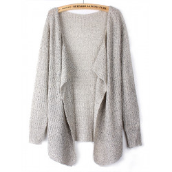 Women Korean Style Solid Color Loose Knitted Cardigan