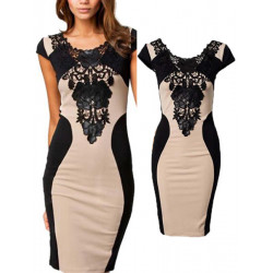 Women Lace Embroidery Short Sleeve Knee Length Office Party Dress