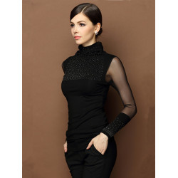 Women Lace Long Sleeve Turtleneck Beaded Knitted Blouse