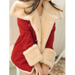 Frauen Revers Zweireiher Taschen Faux Fur Warm verdicken Mantel