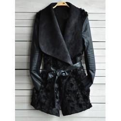 Women Lapel Faux Fur PU Patchwork Long Sleeve Pockets Outwear Coat