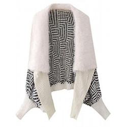 Women Large Mohair Jacket Lapel Bat Sleeve Shawl Knitted Cardigan