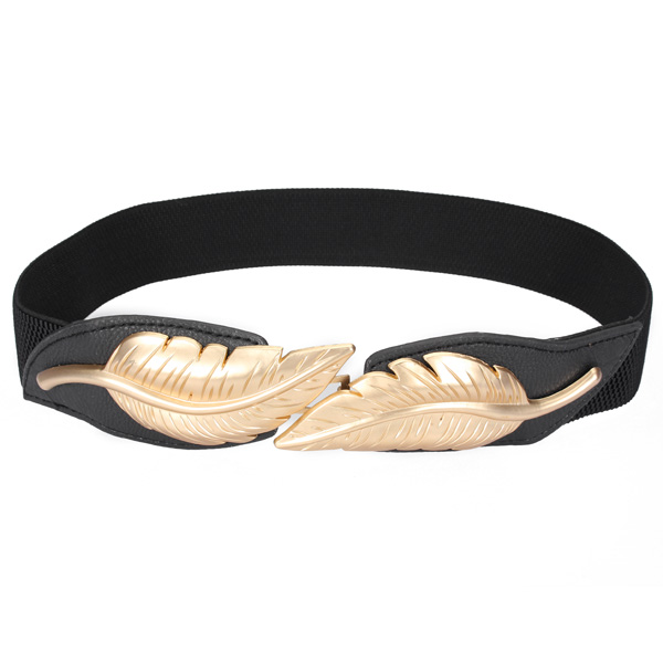 Women Leaves Stretch Slender Elastic Waist Cummerbund Belt Women's Clothing