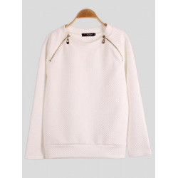 Women Leisure Bubble Cotton Zipper Long Sleeve Sweatshirt
