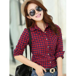 Kvinder Leisure Plaid Langærmet Turn Down Collar Bluse Shirt