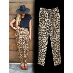 Kvinna Leopard Print Byxor Lös Byxor Casual Brand