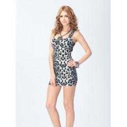 Kvinna Leopard Zipper Pakethöft Klänning Harness Klänning Tank Klänning Kvinnor