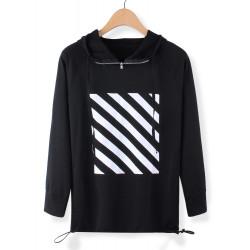 Frauen Schreiben Streifen druckte mit Kapuze Langarm Sweatshirt