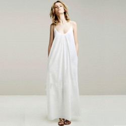 Women Long Cotton Suspenders Dress Long Pure Color Sling Dress