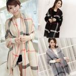 Frauen Long Neck Warmer Tartan Auf Schal Verpackung stahl Plaid Schal Damenbekleidung