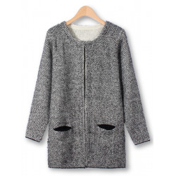 Women Long Sleeve Loose Two Pockets Knitted Cardigan