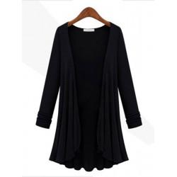 Women Long Sleeve Modal Fiber Cardigan Casual Blouses Coat Plus Size