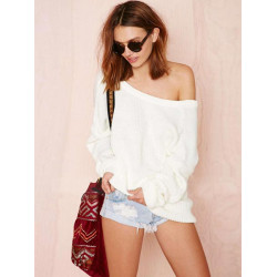 Women Loose Back Deep V Off Shoulder Knitted Sweater