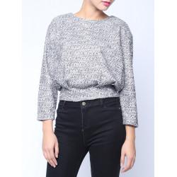 Women Loose Back Zipper Round Neck Long Sleeve Knitted Slim Sweater