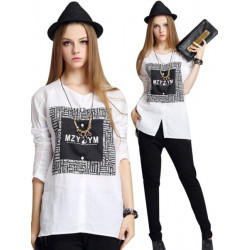 Frauen lösen Bluse Weiß Schwarz Freizeit Langarmshirts T Shirt