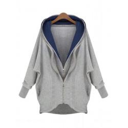 Women Loose Double Zipper Plus Size Sweatshirt Hooded