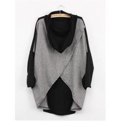 Women Loose Irregular Cotton Bat Short Sleeve T-shirt