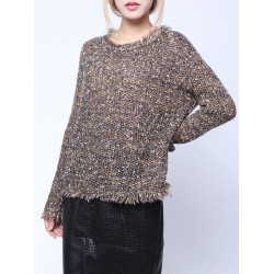 Frauen lösen Strick Quaste Langarm Pullover Pullover