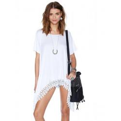 Women Loose Lace Embroidery Asymmetrical Hem Cotton T-shirt
