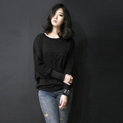Women Loose Plus Size Bat Long Sleeve Bottom T-shirt