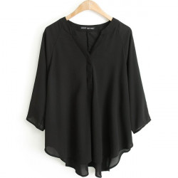 Women Loose Sexy V Neck Shirt Pure 3/4 Batwing Sleeves Blouse Tops
