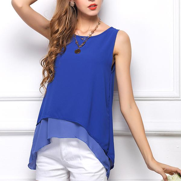 Kvinna Lös Sleeveless Double Layer T-Shirt Chiffong Hem Vest Damkläder