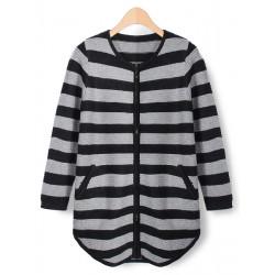 Kvinder Loose Zipper Striped Uregelmæssig Hem Knitted Cardigan