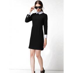 Women OL Long Sleeve Dress Fashion Elegant Turn-down Collar Dress