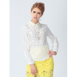 Women OL Long Sleeve Floral Lace Chiffon Blouse