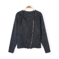 Women Oblique Zipper Knit Sweater Cashmere Cardigan