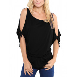 Kvinder Off Shoulder Kort Bat Sleeve StrapT-shirt Bluse Plus Size