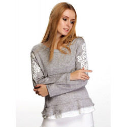 Women Patchwork Flounced  Embroidered Sleeve Knit Pullover Sweater
