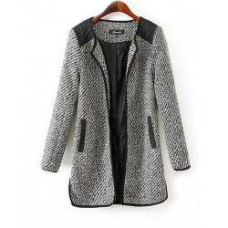 Women Patchwork Pockets Long Sleeve Wool Long Slim Cardigan Outwear