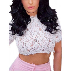 Women Peplum Crochet Cropped Tops Ladies Shirt Vest Sexy Blouse