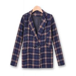 Women Plaid Woolen Outerwear Casual Winter Long Sleeve Coat