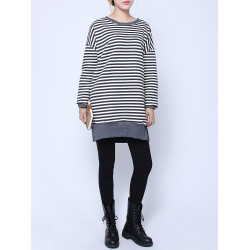 Women Plus Size Casual Stripe Cotton Blouse Long Sleeve Shirt