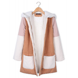 Women Pockets Faux Fur Patchwork Fleece Hooded Thicken Coat