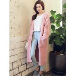 Women Pockets Single Breasted Long Sleeve Loose Knit Long Cardigan