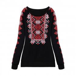 Women Print Thick Warm Pullover Casaul  Long Sleeve Sweatshirt