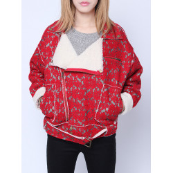 Kvinna Red Blomster Lace Patchwork Lapel Zipper Fleecejacka med Bälte