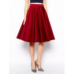 Women Red Vintage Cocktail High Waist A Line Pleated Skirt