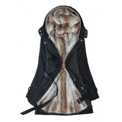 Kvinna Removable Fuskpäls Liner Förtjockning Hooded Värmande Rock Ytterkläder