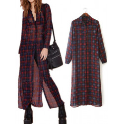 Frauen Retro Vintage karierte Wolljacke Split Langarm Bluse Kleid