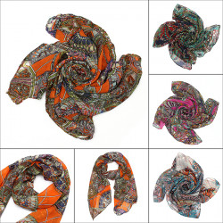 Women Scarf Lady Chiffon Print Silk Long Neck Scarf Pashmina Shawl